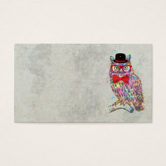 Cool funny trendy colourful watercolours owl business card
