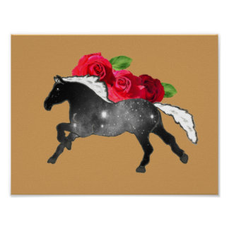 Cool Galaxy Horse Black + White Nebula with Roses Poster