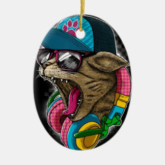 cool gangster rapping cat. christmas ornament