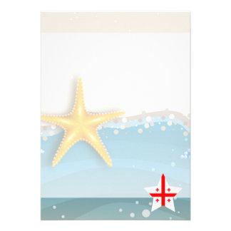 Cool Georgia Flag at the Beach 13 Cm X 18 Cm Invitation Card