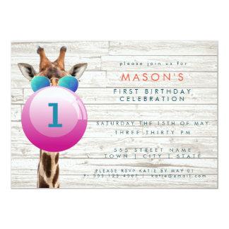 Cool Giraffe and Bubblegum   Party Invitation