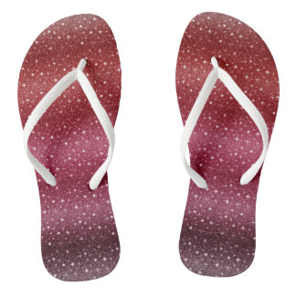 Cool Girly Glitter Red Custom Adult, Slim Straps Jandals
