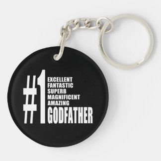 Cool Godfathers : Number One Godfather Double-Sided Round Acrylic Key Ring