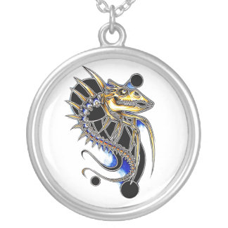 Cool Gold Dragon Skull tattoo Silver Plated Necklace