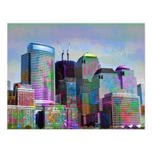 Cool graffiti splatters watercolours New York city Custom Invites