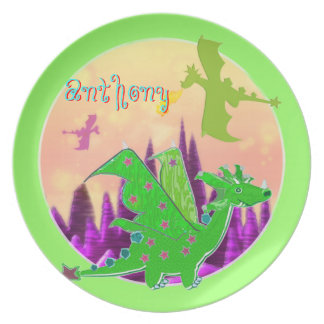 Cool Green Dragon with Name Anthony Plate