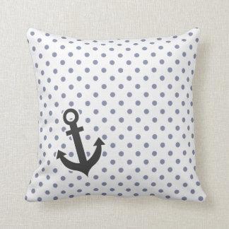 Cool Grey Polka Dots; Anchor Throw Pillows