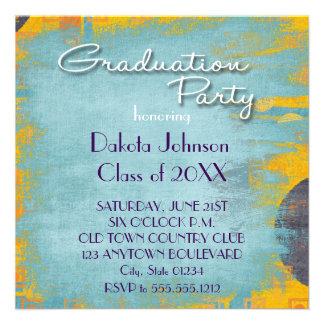 Cool Grunge Blue Wash Graduation Invitations