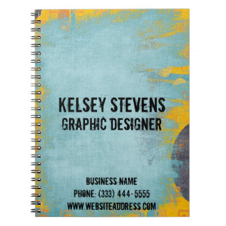 Cool Grunge Blue Wash Spiral Notebook