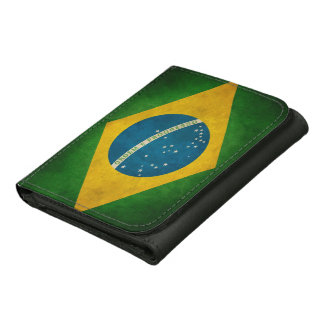 Cool Grunge Brazil Flag Bandeira do Brasil Leather Tri-fold Wallet