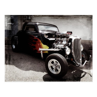 Cool Grunge Flames Hot Rod Postcard