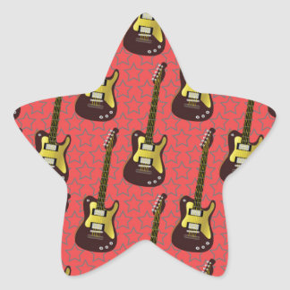 Cool Guitar Pattern Design Star Sticker
