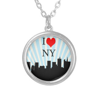 Cool I Love Heart New York Design Silver Plated Necklace