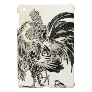 Cool japanese vintage ukiyo-e ink rooster chicken iPad mini cases