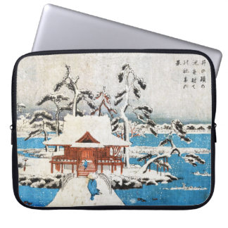 Cool japanese vintage ukiyo-e lake shrine snow laptop sleeve
