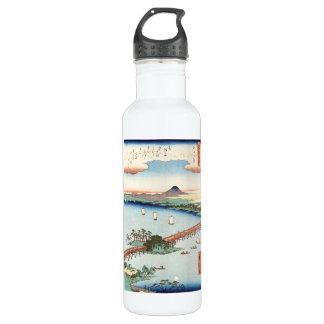 Cool japanese vintage ukiyo-e scenery waterscape 710 ml water bottle