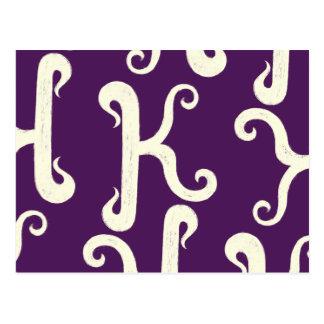 Cool K monogram pattern - purple background Postcard