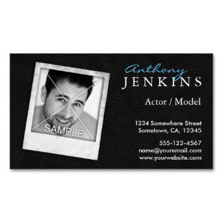 Cool Leather Frame Photo Actor Magnetic Magnetic Business Cards