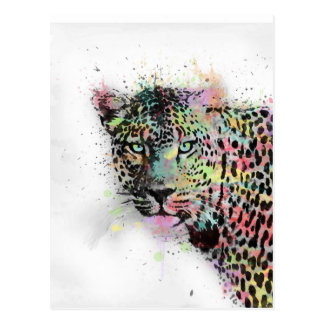Cool leopard animal watercolor splatters paint postcard