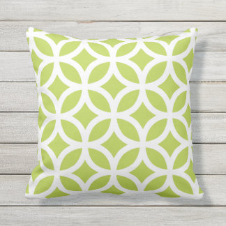 Cool Lime Geometric Pattern Outdoor Pillows