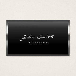 Cool Metal Border Bookkeeper Business Card