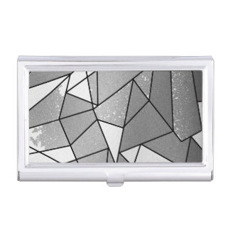 Cool Modern Black and Gray Distressed Geometric Business Card Case