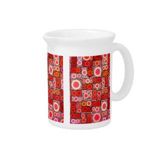 Cool Modern Circle Orange Red Mosaic Tile Drink Pitchers