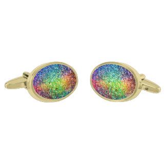 Cool Multicolor Retro Glitter & Sparkles Pattern 2 Gold Finish Cufflinks