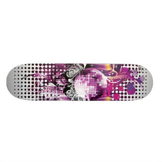 Cool Music Disco Ball and Speakers Custom Skateboard