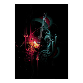 Cool Music Graphic with Guitar Poster