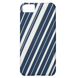 Cool Navy Blue and White Diagonal Stripes Pattern iPhone 5C Case