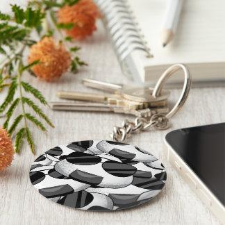 Cool onigiri pattern basic round button key ring