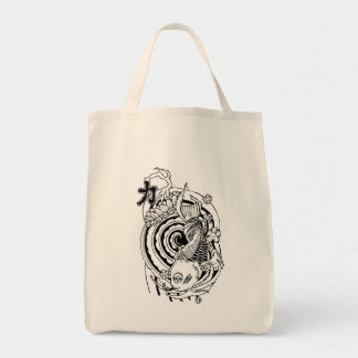 Cool Oriental Black White Koi Fish tattoo Tote Bag