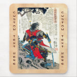 Cool oriental classic japanese samurai warrior art mouse pad