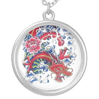 Cool Oriental Dragon Lotus Flower tattoo Silver Plated Necklace