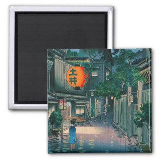 Cool oriental japanese Kasamatsu night street rain Square Magnet