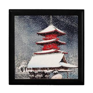 Cool oriental japanese Kawase winter scenery art Large Square Gift Box