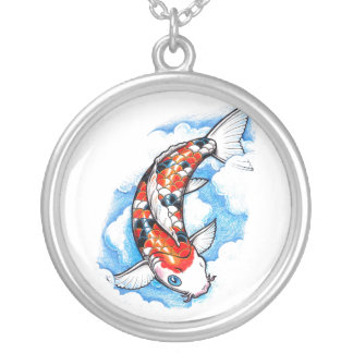 Cool Oriental Japanese Koi Carp Cloud tattoo Silver Plated Necklace