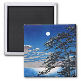 Cool oriental japanese moonlight night scenery square magnet