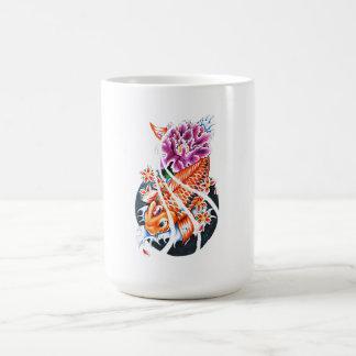 Cool Oriental Japanese Orange Koi Fish Carp Lotus Mug