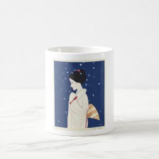 Cool oriental japanese tender geisha lady art basic white mug