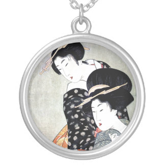 Cool Oriental Japanese Traditional Geisha art Silver Plated Necklace