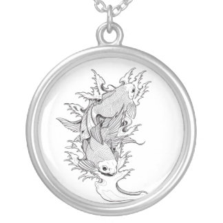 Cool Oriental Japanese Twin Koi Carp Fish tattoo Silver Plated Necklace