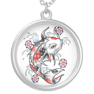 Cool Oriental Japanese White Koi Fish Carp tattoo Silver Plated Necklace