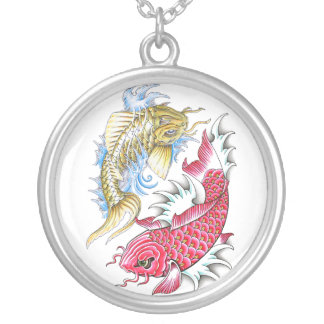 Cool Oriental Koi Fish Red Gold Yin Yang tattoo Silver Plated Necklace