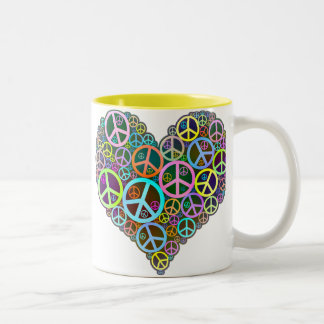 Cool Peace Love Heart Two-Tone Coffee Mug