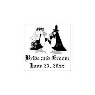 Cool Penguin Bride and Groom Wedding Stamp
