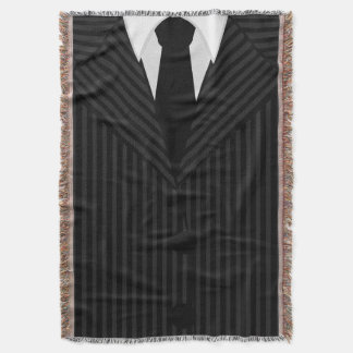 Cool Pinstripe Suit and Tie Woven Throw Blankets