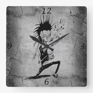 Cool punk zombie grey cracked wall black grey square wall clock
