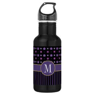 Cool Purple Black Floral Striped Chic Monogram 532 Ml Water Bottle